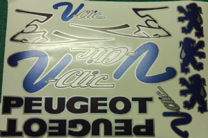 Peugeot V-Clic Vclic VClick Decals/Stickers Pug Scooter blue/black/silver